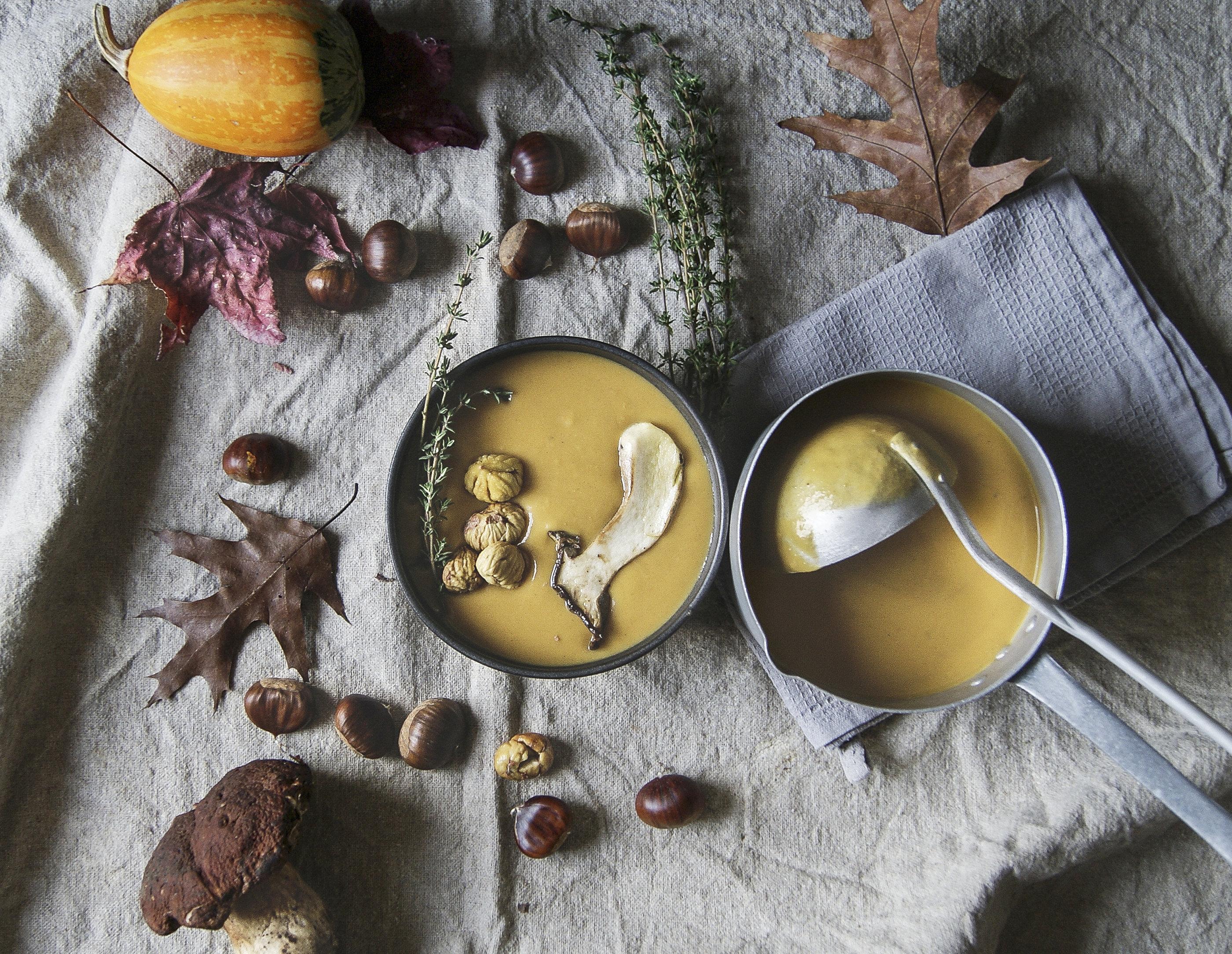 Pilzsuppe mit Maronen als saisonales Herbst Food.