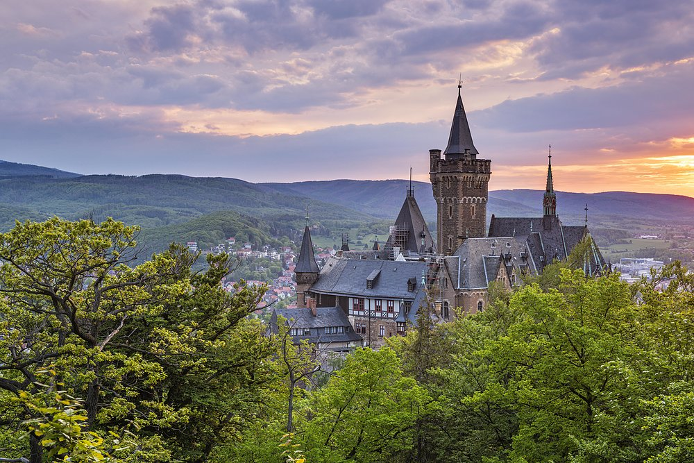 The Harz adventure can begin with a view of Wernigerode Castle.