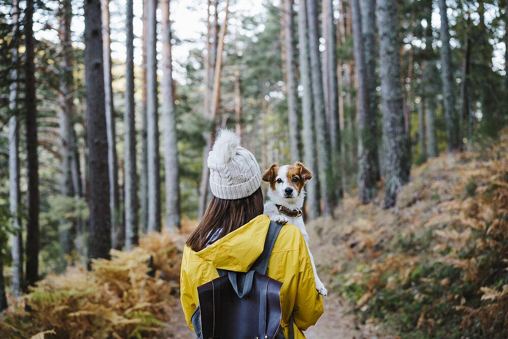 Frau trägt Hund im Arm und läuft durch einen Wald.